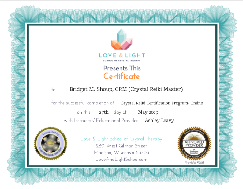 Bridget M. Shoup Crystal Reiki Master .p