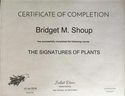 Signature of Plants Certificate