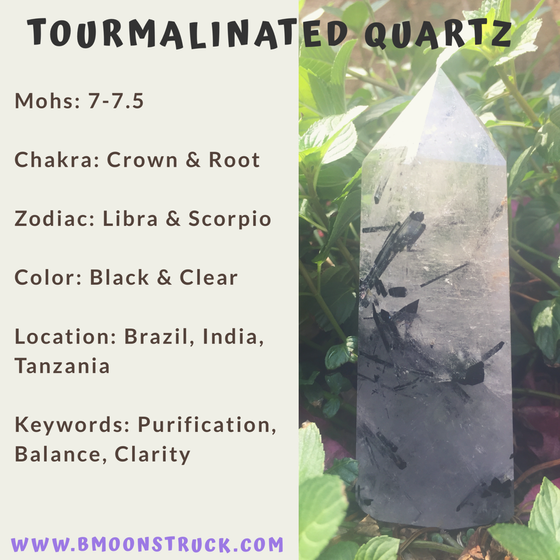Mineral MoonDay~Tourmalinated Quartz