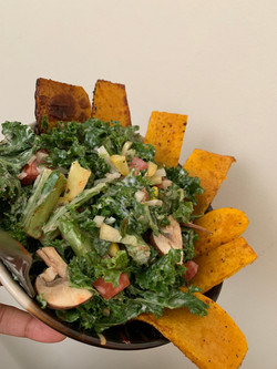 veggie salad with saute butternut squash