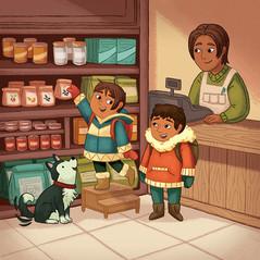 Palluq and Qiliqti Help Their Anaanatsiaq (Inuktitut)