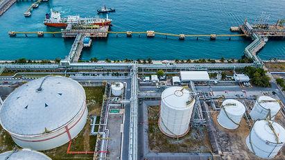 Aerial view oil tanker loading in port v