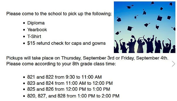 Pickup times for graduates