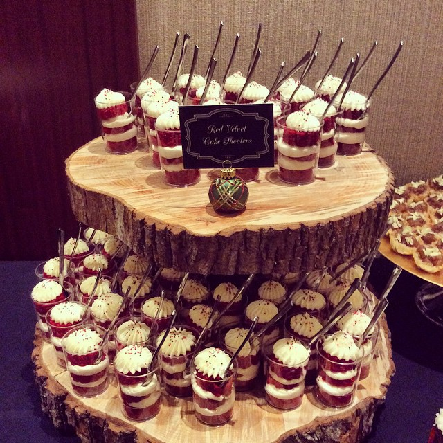 Bayley Construction Holiday Party Red Velvet Cake Shooters #heysweets #dessert