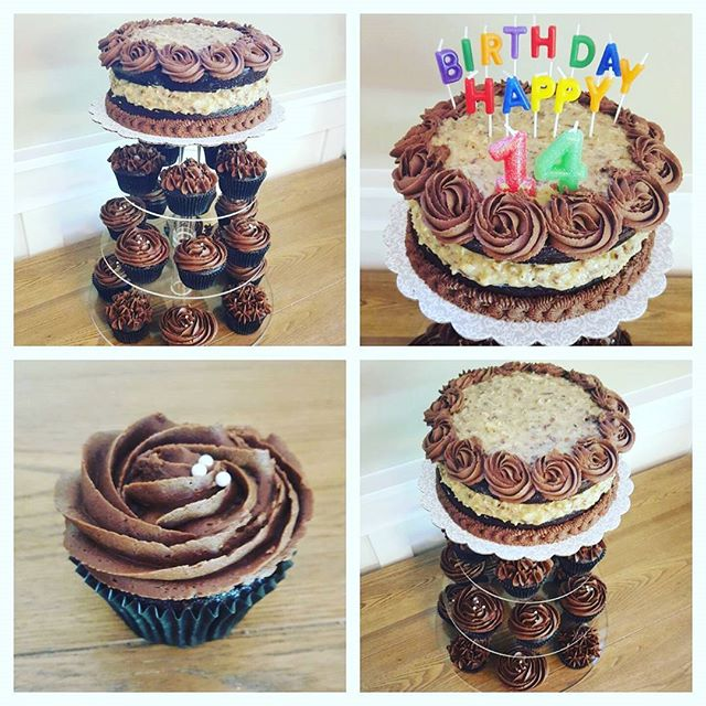 German Chocolate cake and cupcakes for a special boys 14th birthday!