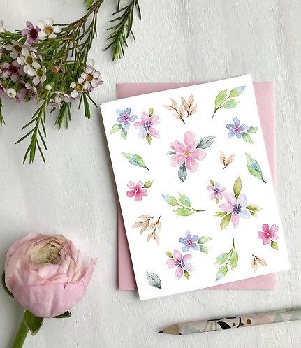 Fleurs aquarelle, Carte de souhaits