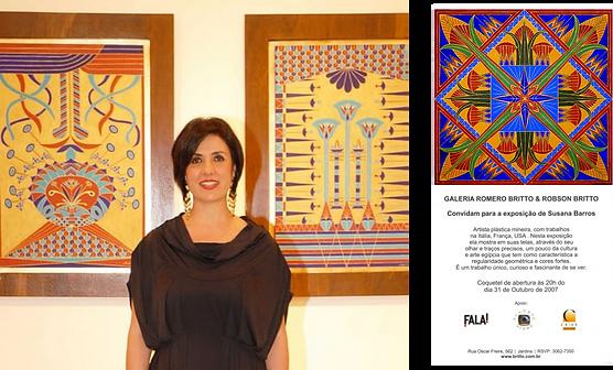 Susana Barros com duas de suas obras expostas na Galeria Romero Britto em SP