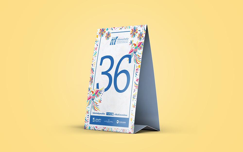 Table tent design: Black Koi 360 Design Studio
