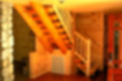 Log Home, log stairs, custom log home