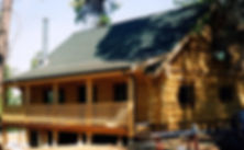 Log Home, log hand rails, deck