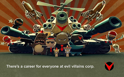 All the Villains in the Evil Villains Corperation.