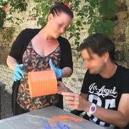 peinture sur pot avec les residents liege