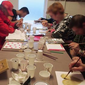 Atelier peinture avec les résidents de la Villa Blanche à Liège