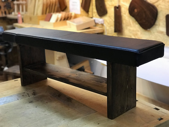 Solid Wood Bench with Leather Seat