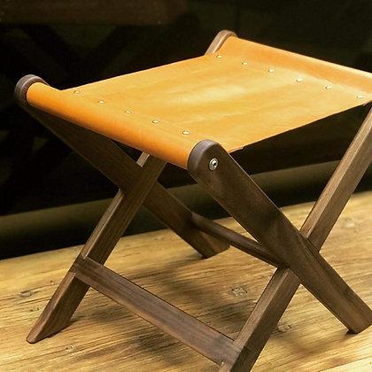 """Würdevoll"" Wallnut-Leather Stool"