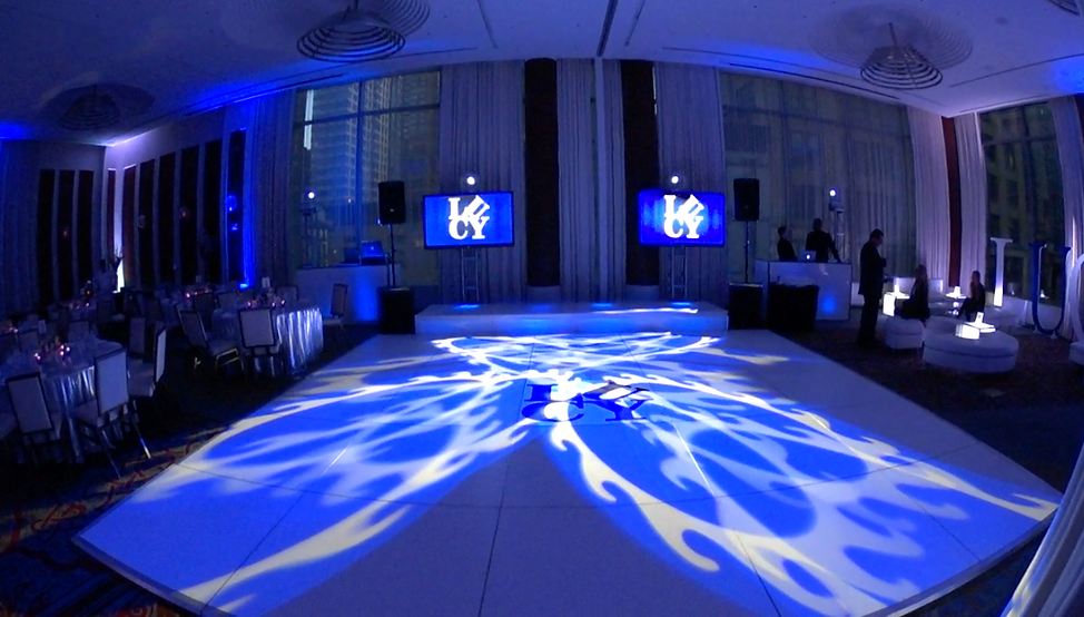 custom party decal and gobo lighting