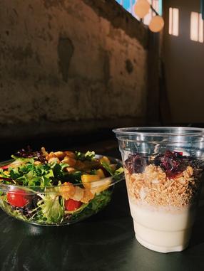 Organic Spring Mix Salad and Cherry Almond Parfait