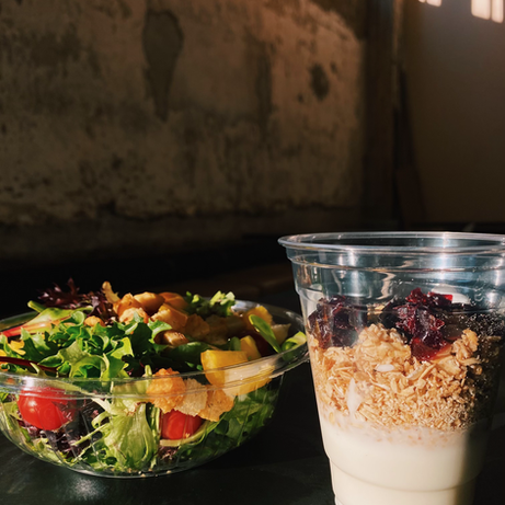 Organic Spring Mix salad and Cherry Granola Parfait