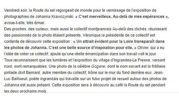 Article ouest france Exposition Embarquez Ingrandes Le Fresne sur Loire