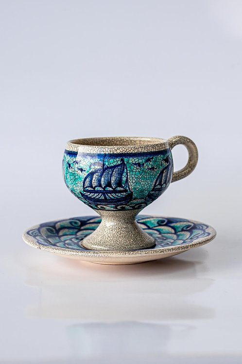 Mavi Gemili Kahve Fincanı