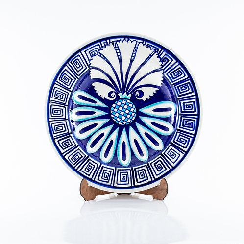 25 cm Özel Tasarım Kütahya Karanfil Desenli Mavi Çini Yemek Tabağı