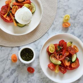 Burrata met gegrilde groente