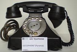 "Black Bakelite """"Gecophone""""- Pyramid Telephone (1Collection of historic telecom equipTelecom milestones, telecom history, virtual museum, Amateur Radio, Telephone Answering, Telegraph history, Telephone History, Vacuum Tubes History, Telephone ans940's),"
