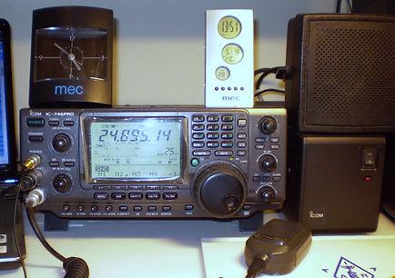 "ICOM  IC-746PROHistory of Amateur Radio, 4X4FW, Drake TR-4, Drake RV4, ICOM IC-746PRO, IC-22A, Soviet Army HF receiver R-311, Bao Feng UV-5RA, Lafayette Desk Microphone 99-4607, MFJ-864, Bencher BY-1, Vibroplex ""Original"" S 100 Watts HF/6m/2m Transceiver,"
