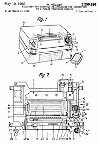 Alibicord patent application drawing - The Ipsophone of Willy Muller - telephone answering history, Alibiphon, Alibicord, Alibinota, A-Z-Zet, Alibiphonomat, Notatronic, Zet-Com, Alois Zettler GmbH, Compact-Cassettetelephone answering history,