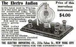 AUDION advertisement - histEarly experimental AUDION - history of vaory of vacuum tubede Forest Audion with uV-4 base - history of vacEarly experimental AUDION - history of vauum tubes, triode, Tetrpentode, hexode, filament voltage, amplification, oscils,