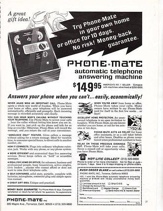 PHONE-MATE 400S Telephone answering machines collection, ALIBICORD  (1964), ALIBIPHON VA 58 (1957), Alibicord, A-Zet, A-Zet C, Alibicord 3, Alibicord 34, Phone-Mate 440S, Sanyo M-139N, Sanyo TAS-1000, Pnasonic Easa-Phone KX-T1418, Sanyo TAS Advertisement,