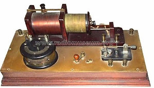 Wireless telegraph spark gap transmitter circuit - history of wireless telegraph, arc transmitter, Vlademar Poulsen, HF alternator transmitter, Ernst Alexanderson, crystal detector receiver, wireless room