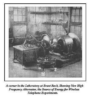 Fessenden high frequency alternator transmitter - history of broadcast radio Audion Lee de Forest, Aerioka Jr, Loose coupler tuner, Edwin Armstrong, Superhet, Modulation methods, Pat Haggerty, Regency TR-1, first transistor radio, Superhet circuit diagram,