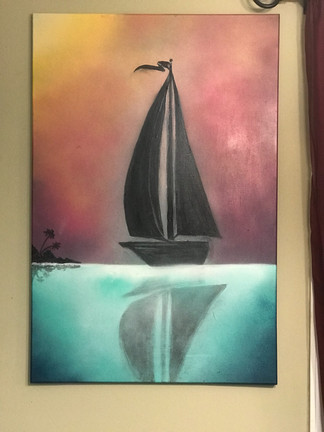 "Sail Boat, Painting, Oils, 24""x36"", Frankie Bonze, House Of Pain, 30 Holiday Rambler, Byram, Mississippi, 39272"