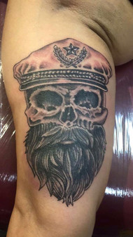 Hat, Navy Captain, Wisdom, Black and Grey, Skull, Tattoo, Frankie Bonze, House Of Pain, 30 Holiday Rambler, Byram, Mississippi, 39272