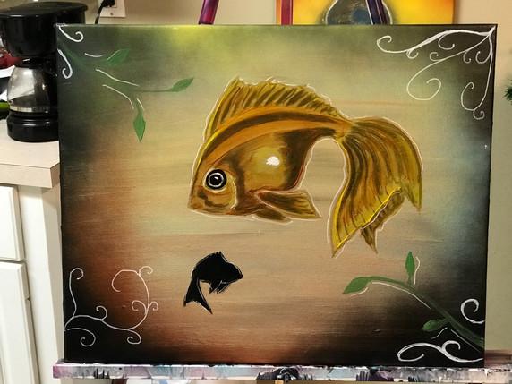 "GoldFish , Painting, Oils, 14""x18"", Frankie Bonze, House Of Pain, 30 Holiday Rambler, Byram, Mississippi, 39272"