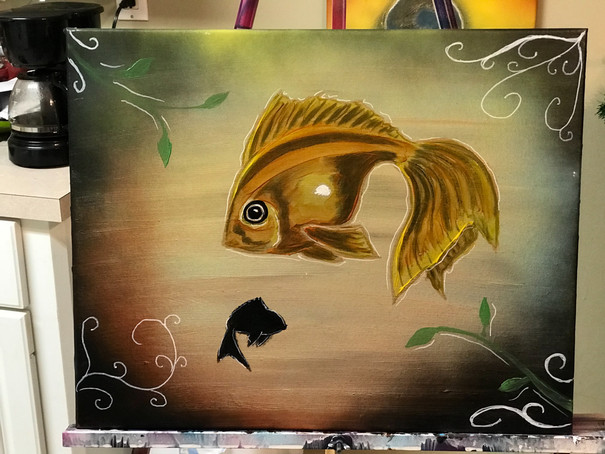 "GoldFish , Painting, Oils, 14""x18"", Frankie Bonze, House Of Pain, 30 Holiday Rambler, Byram, Mississippi, 39272"