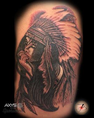 Indian, Girl, Pretty, Head Dress, Tattoo, Frankie Bonze, House Of Pain, 30 Holiday Rambler, Byram, Mississippi, 39272