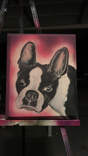 Boston Terrier Canvas Oil Painting
