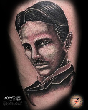 Nikola Tesla, Portrait, Black And Gray, Tattoo, Frankie Bonze, House Of Pain, 30 Holiday Rambler, Byram, Mississippi, 39272