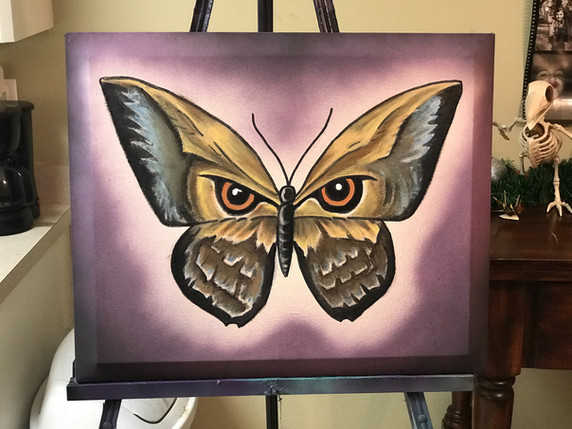 """Butterfly, Owl, Painting, Oils, Hand streched Canvass, 14""""x18"""", Frankie Bonze, House Of Pain, 30 Holiday Rambler, Byram, Mississippi, 39272"""