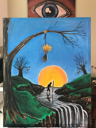 """WaterFord, WaterFall, Masonic Painting, Oils, Hand streched Canvass,  20""""x30"""", Frankie Bonze, House Of Pain, 30 Holiday Rambler, Byram, Mississippi, 39272"""