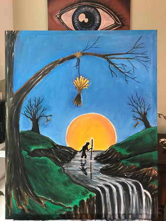 "WaterFord, WaterFall, Masonic Painting, Oils, Hand streched Canvass,  20""x30"", Frankie Bonze, House Of Pain, 30 Holiday Rambler, Byram, Mississippi, 39272"