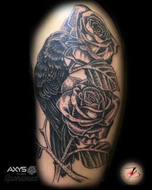 Rose, Roses, Raven, Flower, Crow, Stipple, Tattoo, Frankie Bonze, House Of Pain, 30 Holiday Rambler, Byram, Mississippi, 39272