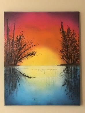 """Sunset , Water, Painting, Oils, Hand streched Canvass, 12""""x14"""", Frankie Bonze, House Of Pain, 30 Holiday Rambler, Byram, Mississippi, 39272"""