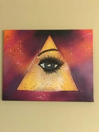 """All seeing eye, Pyramid, Painting, Oils, 12""""x14"""", Frankie Bonze, House Of Pain, 30 Holiday Rambler, Byram, Mississippi, 39272"""