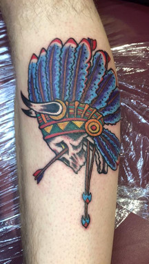 Indian, Skull, Arrows, Head Dress, Tattoo, Frankie Bonze, House Of Pain, 30 Holiday Rambler, Byram, Mississippi, 39272