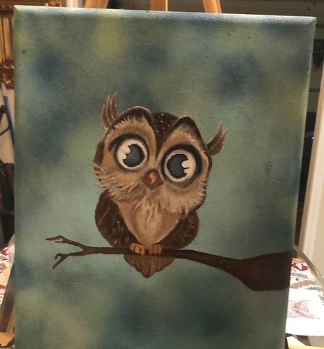Baby Owl Oil Painting Prints