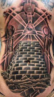 Pyramid, Pillars, Masonic, Mason, Large, Tattoo, Frankie Bonze, House Of Pain, 30 Holiday Rambler, Byram, Mississippi, 39272