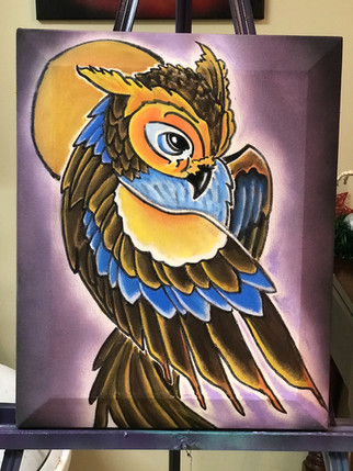 """Owl, Moon, Painting, Oils, Hand streched Canvass, 14""""x18"""", Frankie Bonze, House Of Pain, 30 Holiday Rambler, Byram, Mississippi, 39272"""